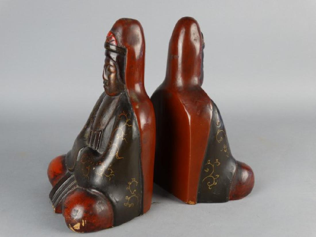 Burmese Lacquered Buddha Bookends - 4