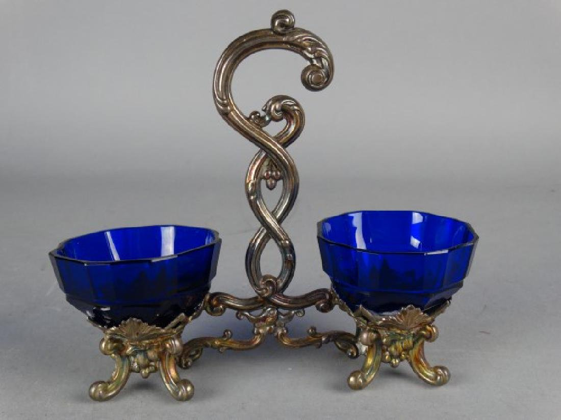 Continental Silver Mounted Cobalt Dual Condiment