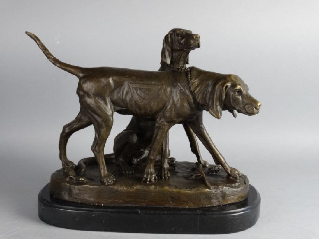 A. CAIN - Bronze Hunting Dogs on Marble Base