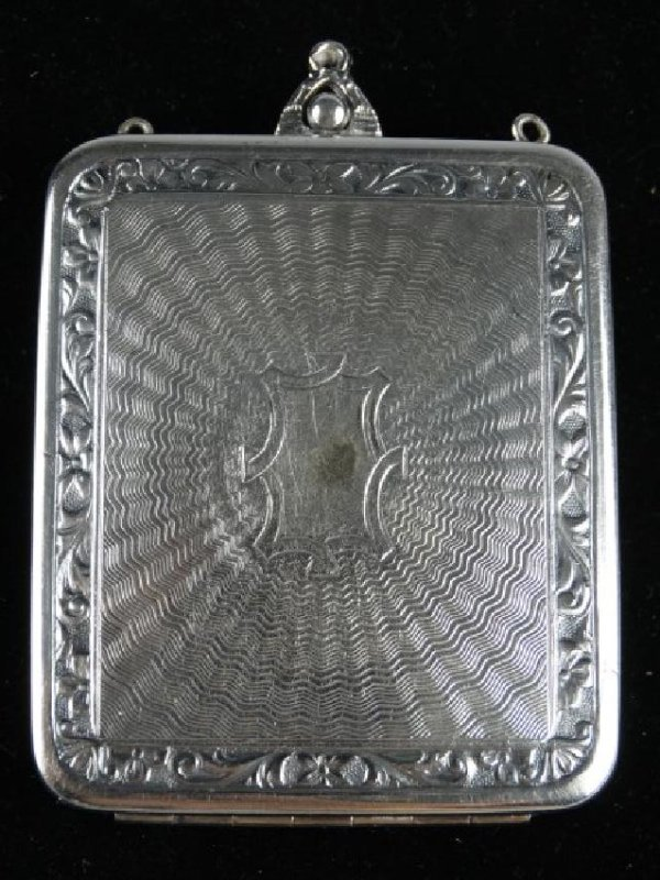Very Ornate Silver Change Purse w/ Mirror - 3