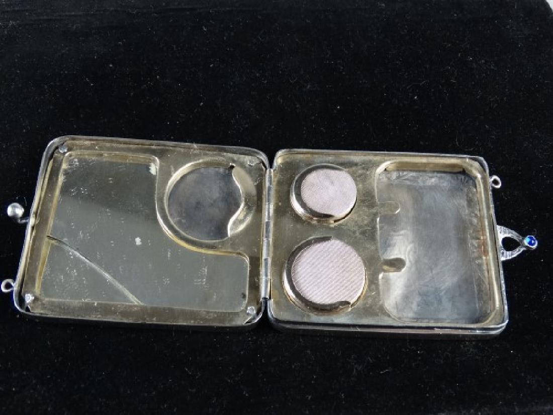 Very Ornate Silver Change Purse w/ Mirror - 4