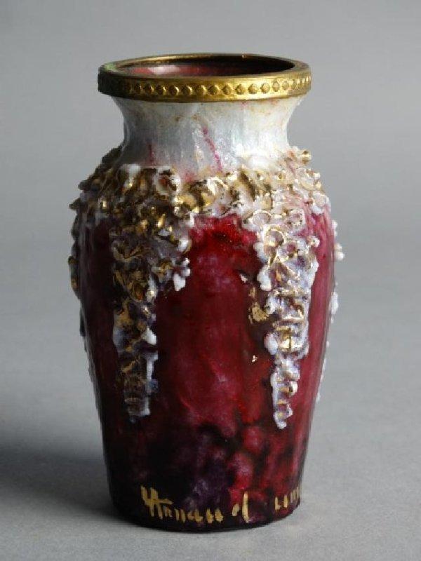 Limoges Enamel on Copper Bud Vase