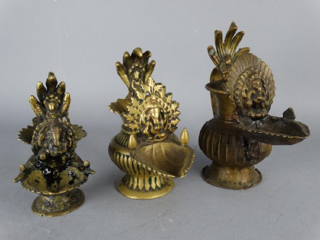 Lot of 3 Antique Indian Bronze Sakunda Puja Lamps