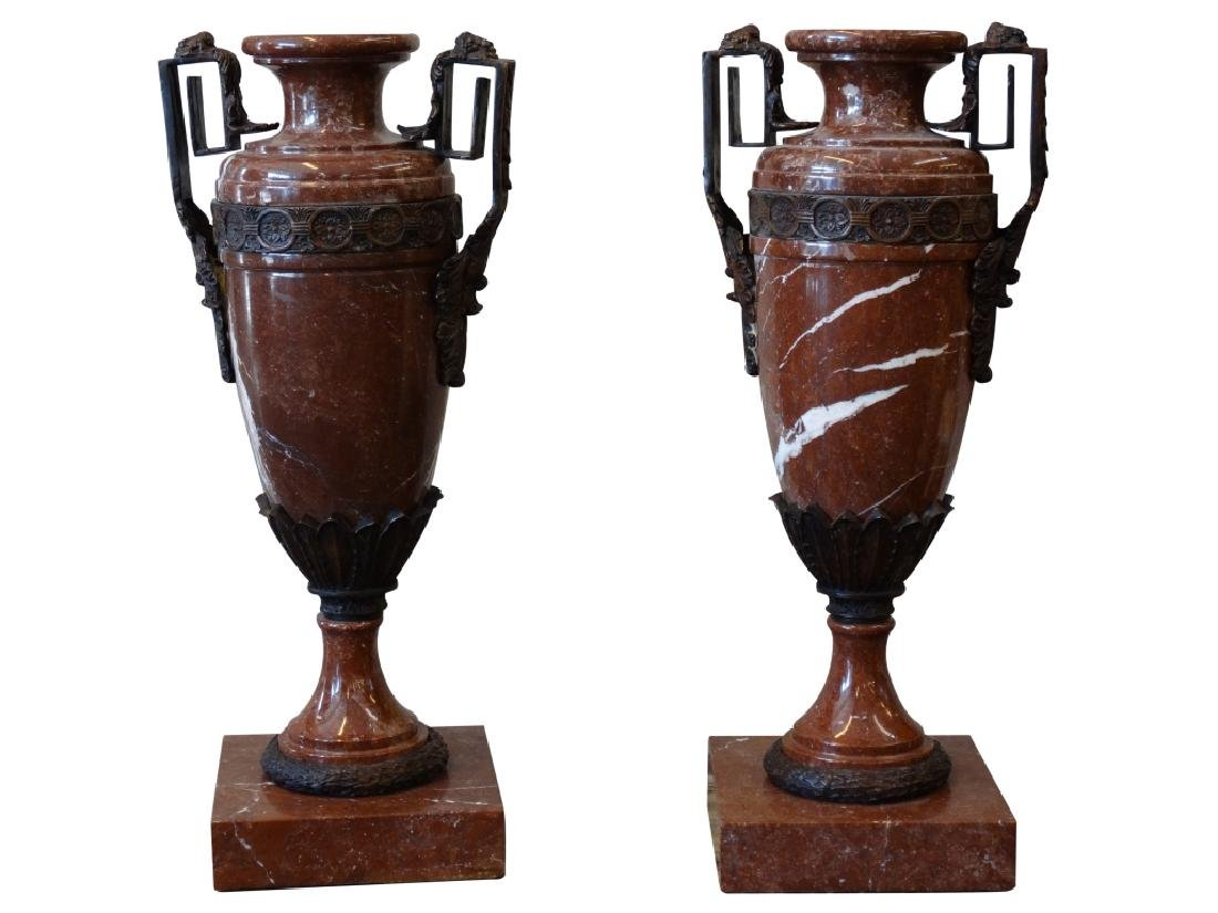 Pair of Marble & Bronze Mounted Vases