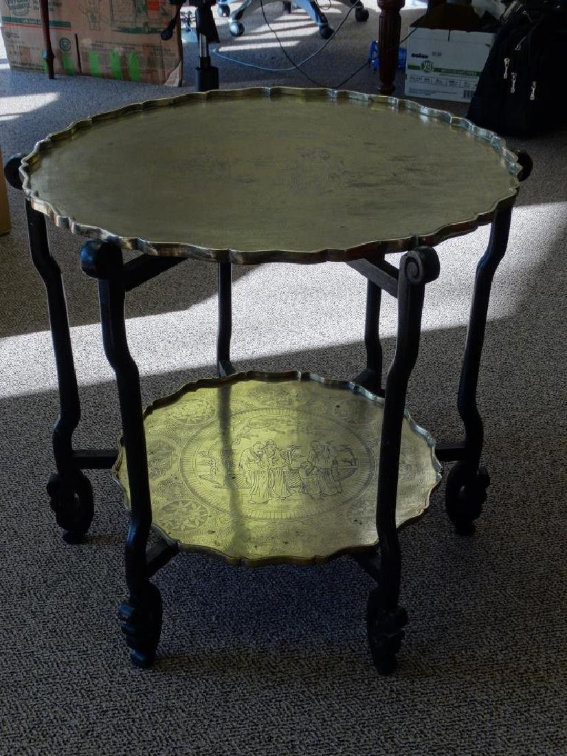 19c. Chinese Two -Tier Brass Charger Table