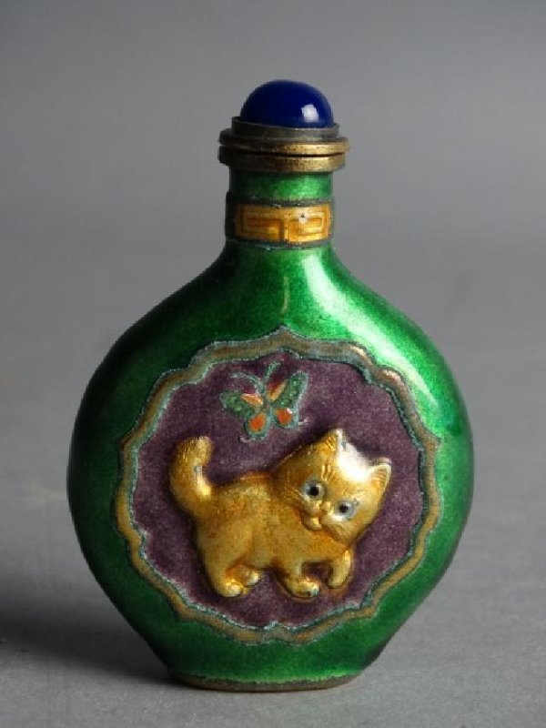 Enamel over Brass Snuff Bottle