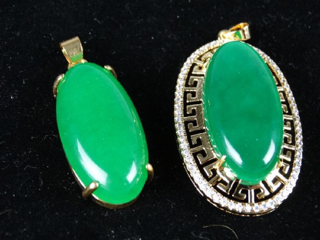 Lot of 2 Green Jade Pendants