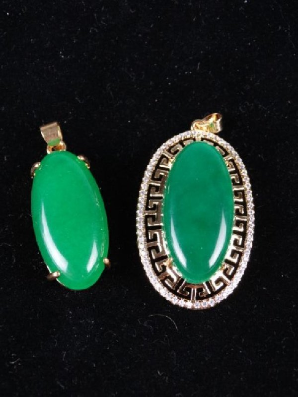 Lot of 2 Green Jade Pendants - 2