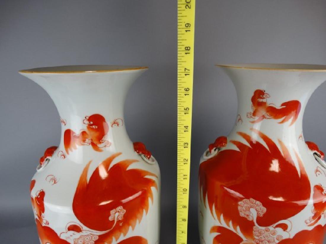 Pair of Red Underglazed Fu Lion Vases - 3