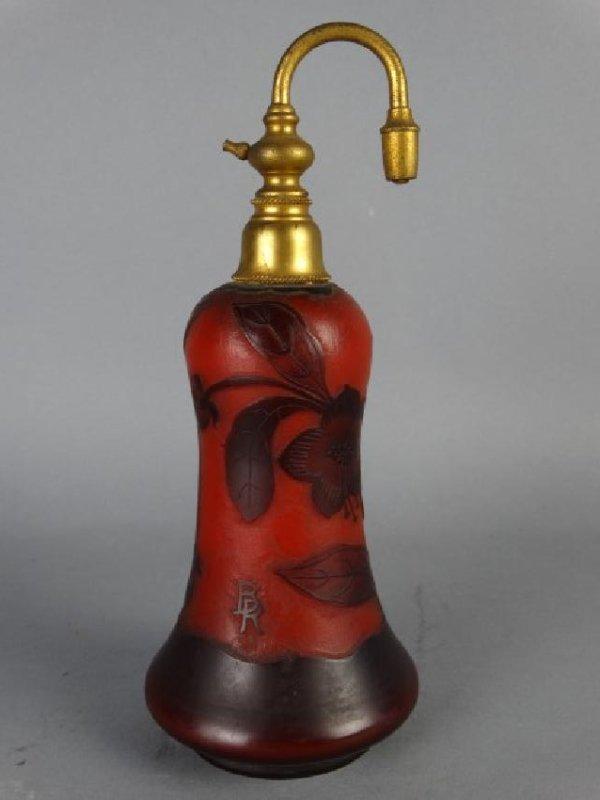 Cameo Glass Perfume Atomizer, Signed BR