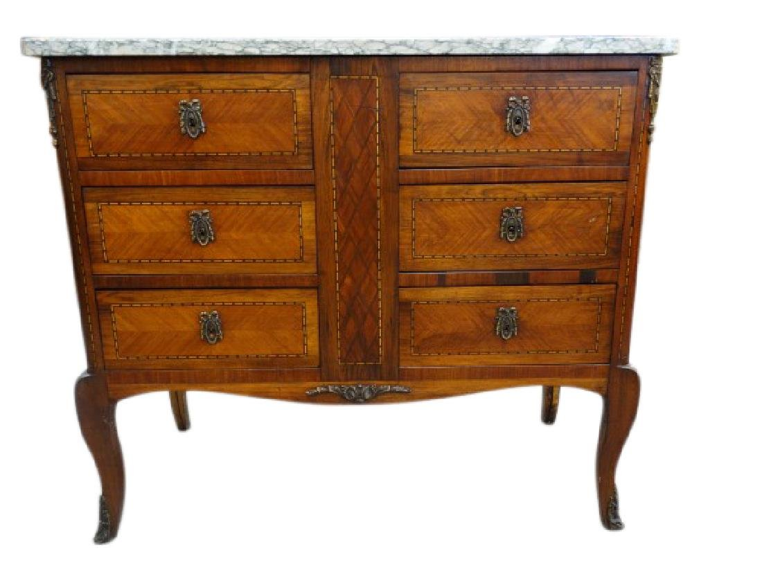 French 6 Drawer Marble Top Chest