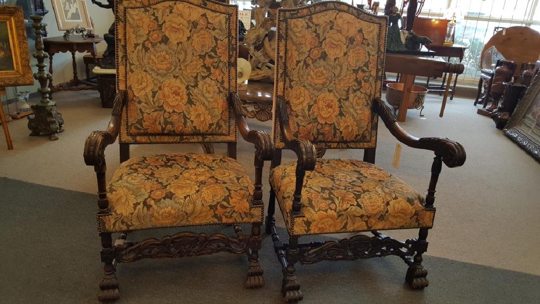 Pair of 19c. Flemish Carved Hall Chairs
