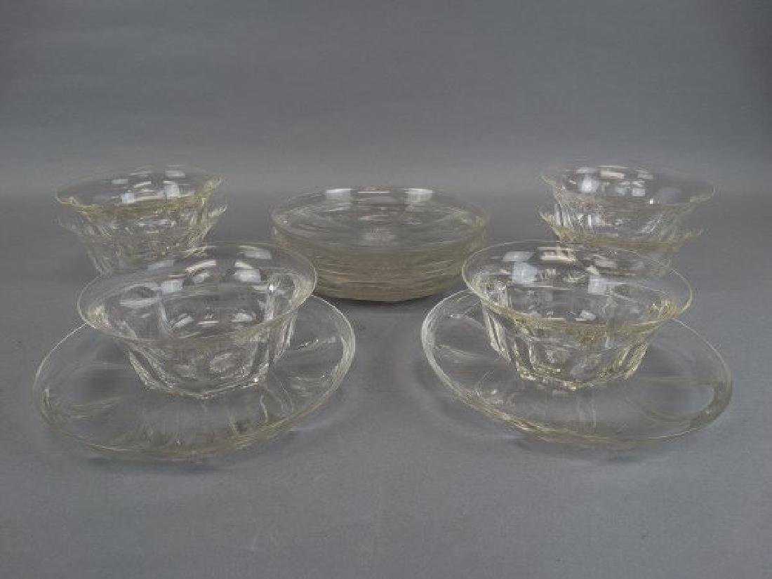 Set of 6 Sinclaire Cut Glass Fingerbowls & Plates