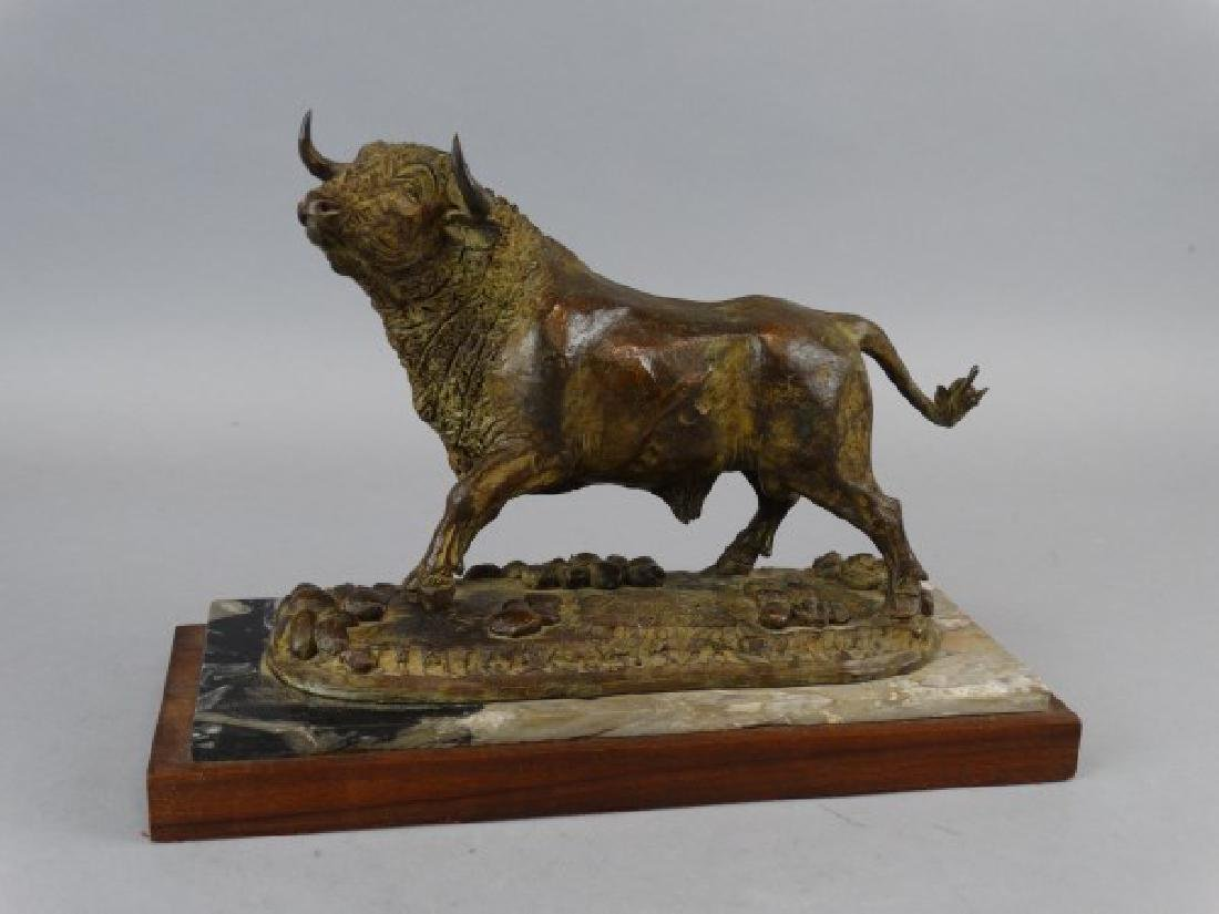 FUENTES - Bronze Bull on Marble Base