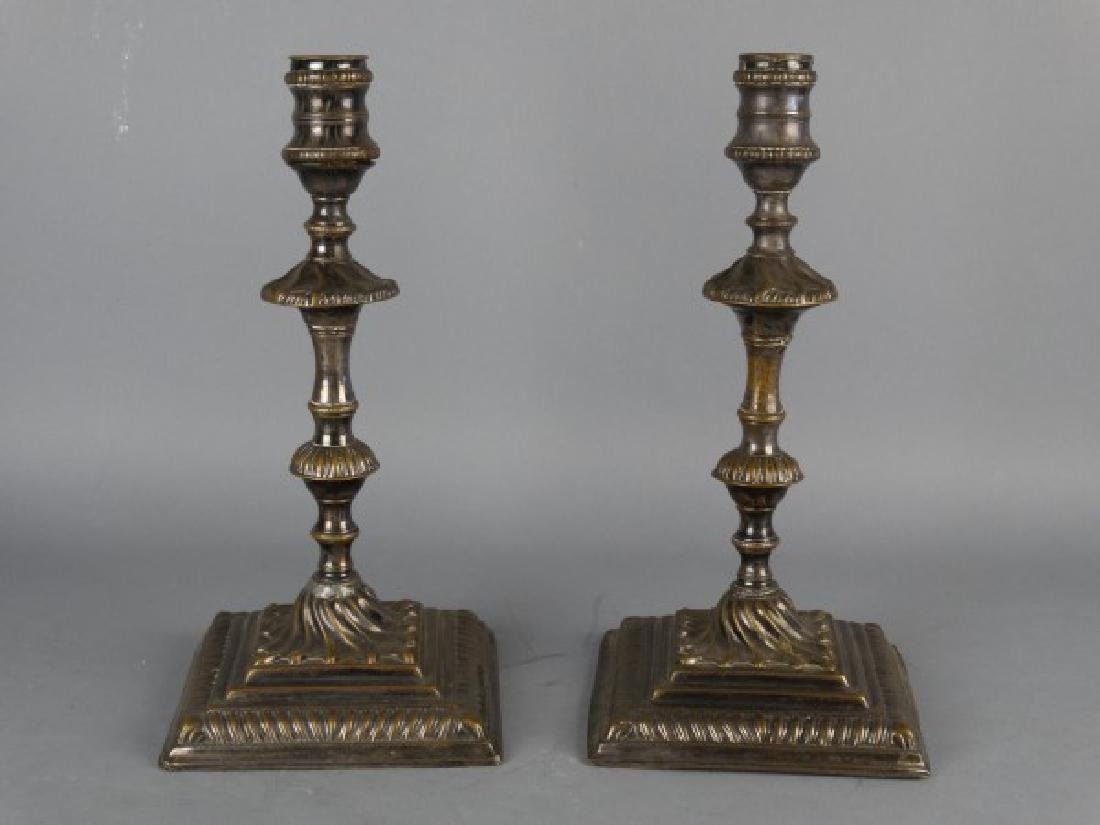 Pair of Antique Georgian Silverplated Candlesticks