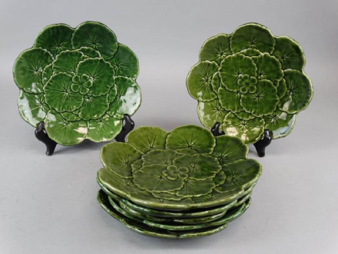 Lot of 7 Green Majolica Plates