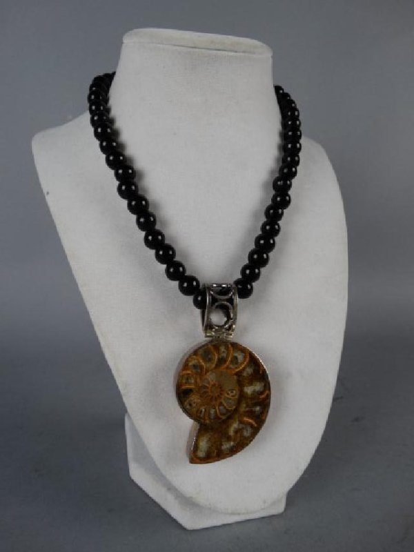 Onyx, Ammonite, Sterling Silver Necklace