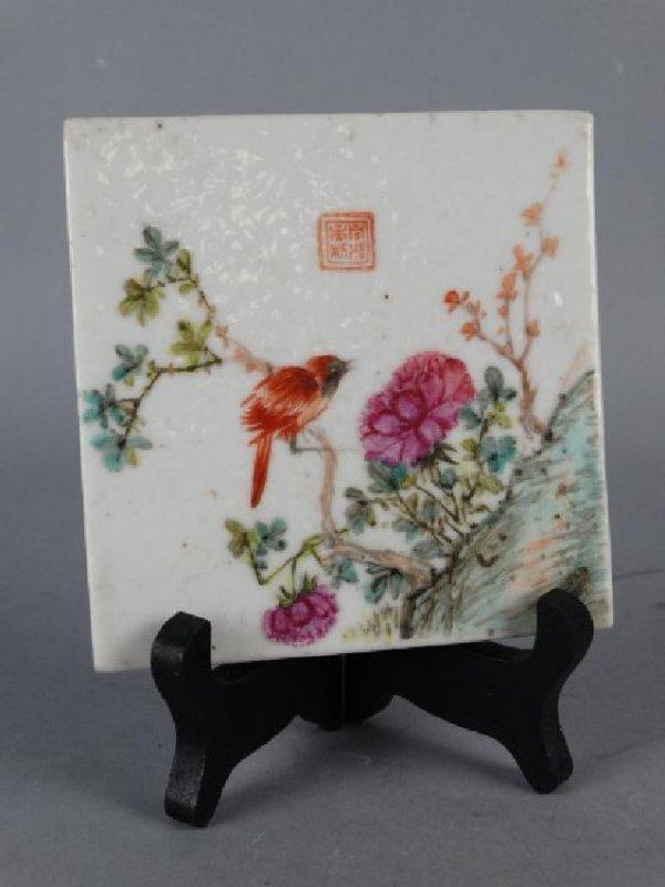 Chinese Famille Rose Enameled Tile