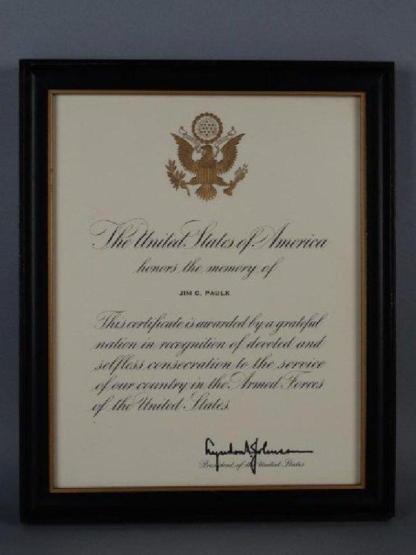 LYNDON BAINES JOHNSON - Autographed Document