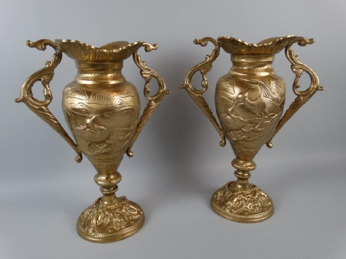 Pair of Antique Chinese Bronze Urns