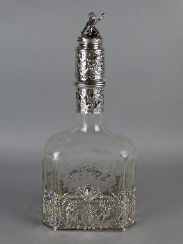 Silver Schallmayer Etched Glass Decanter