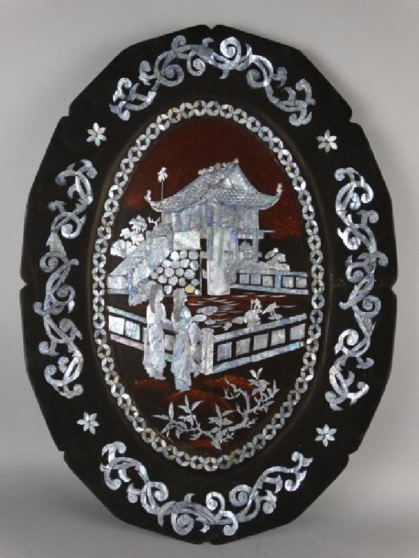 Large Mother-of-Pearl Inlaid Lacquer Tray