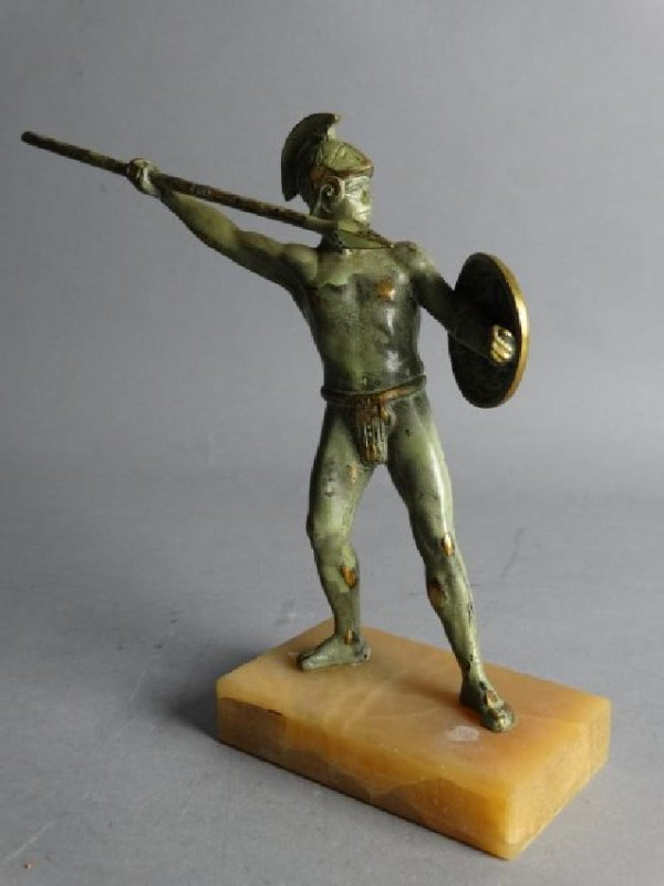 Patinated Bronze Gladiator on Marble Base