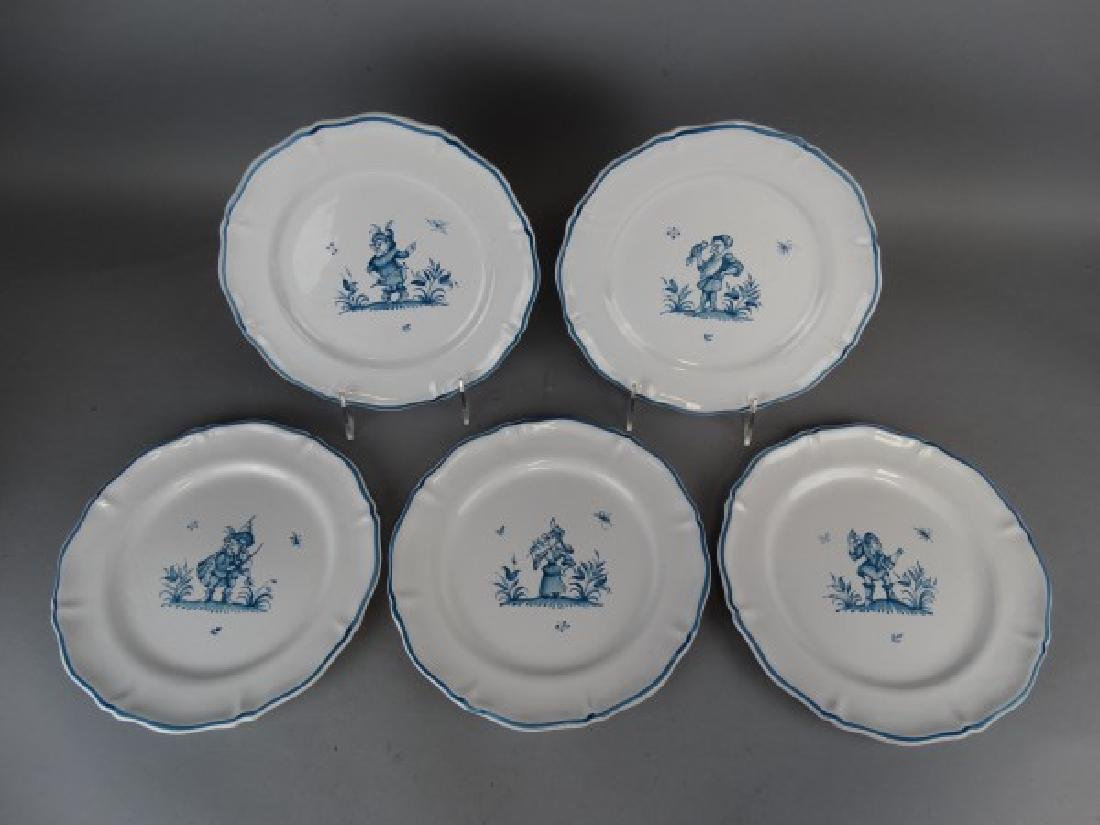 Lot of 5 Antique French Faience Moustiers Plates