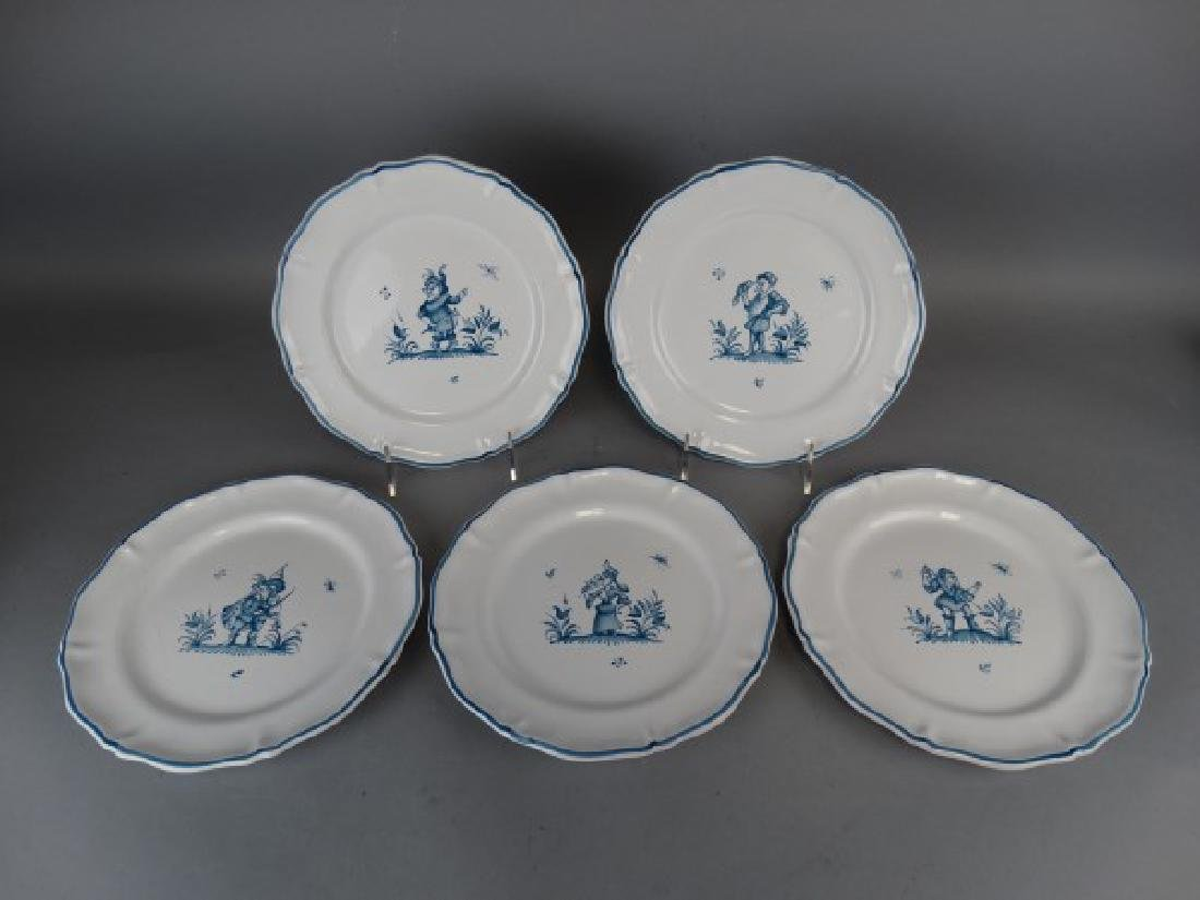 Lot of 5 Antique French Faience Moustiers Plates - 2