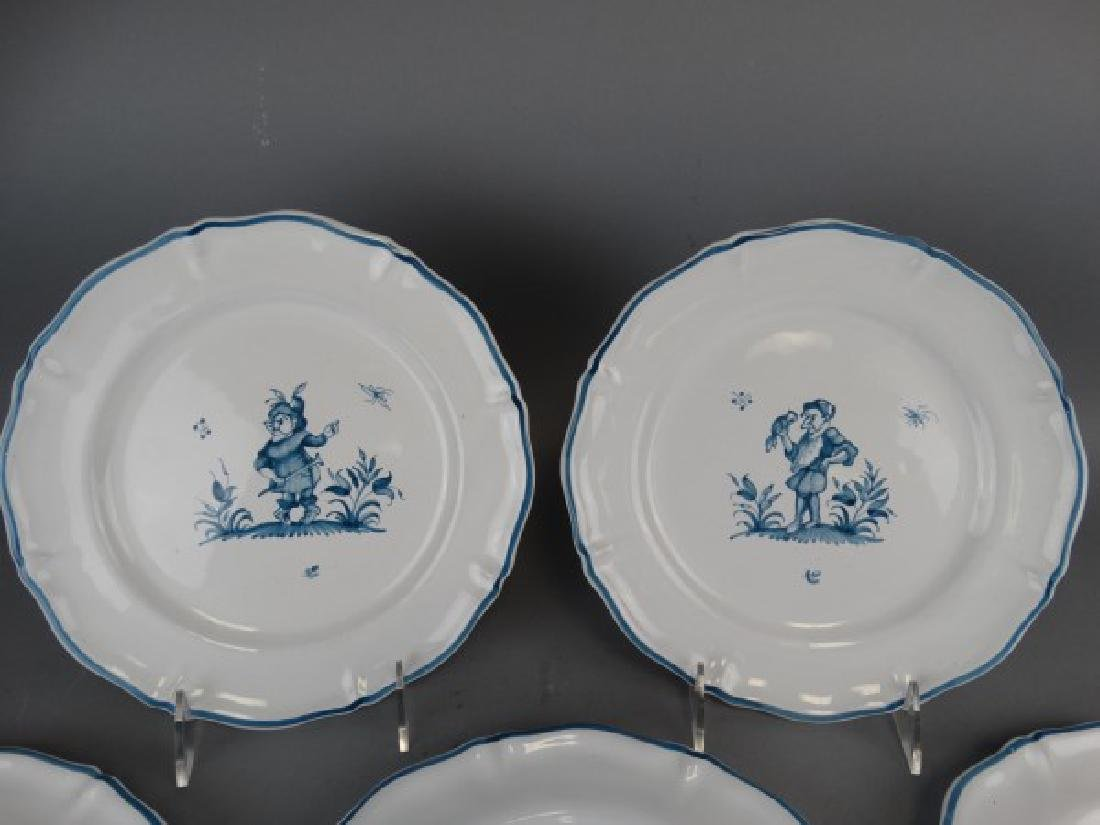 Lot of 5 Antique French Faience Moustiers Plates - 3