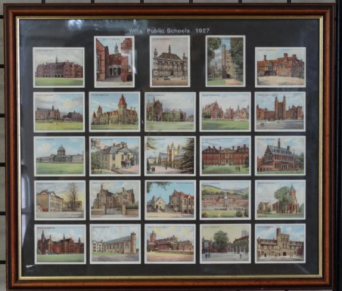 Framed Will's Public School Cigarette Card Set