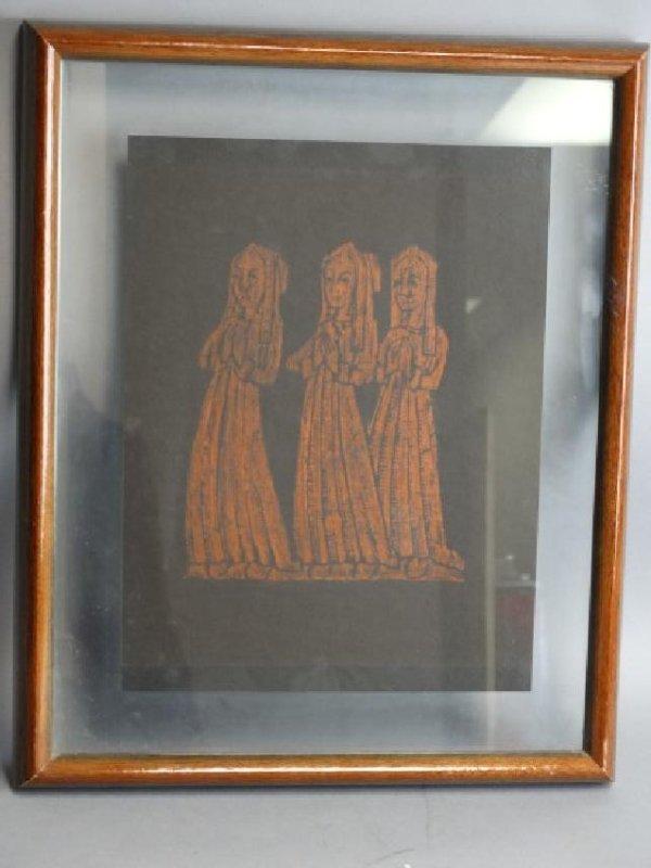 Vintage Framed Rubbing - Praying Women