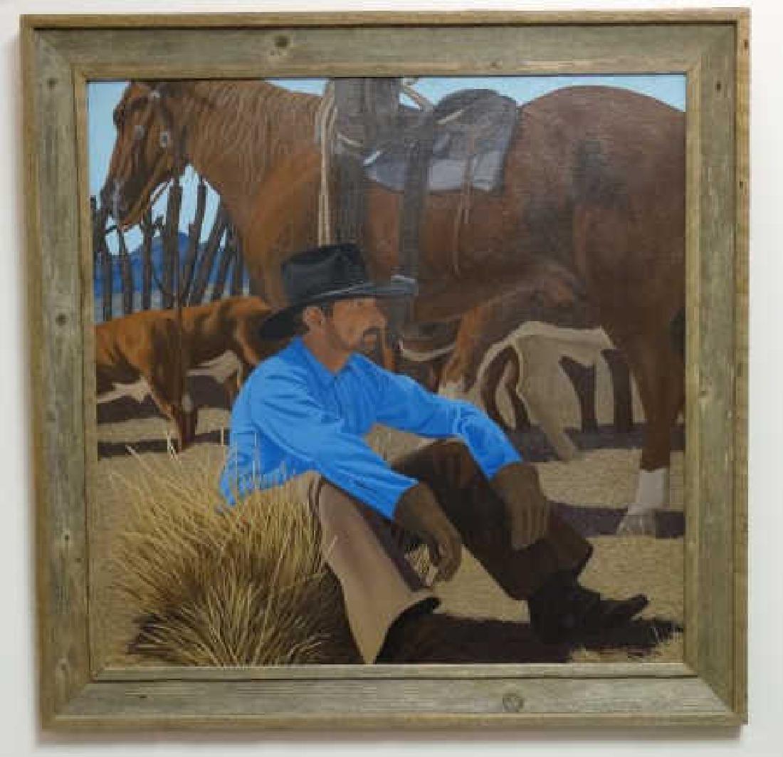JAMES STEVENS : Oil on Canvas - Cowboy
