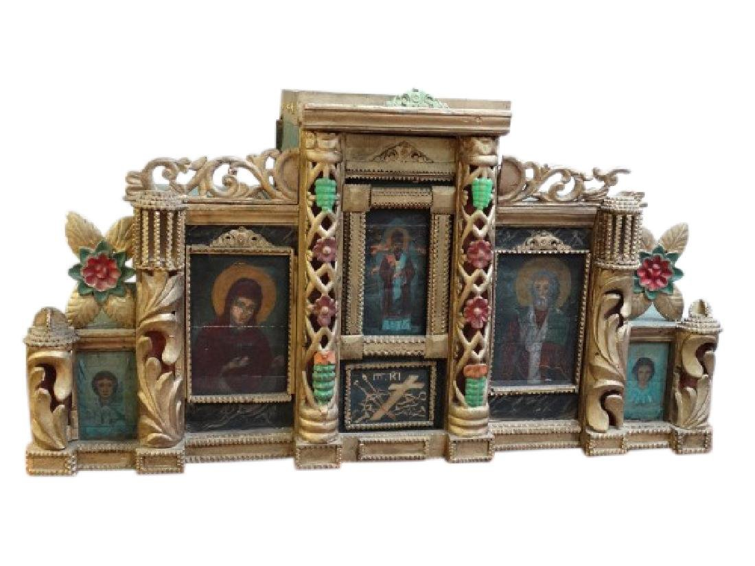 18c. Hand Carved Russian Wooden Tabernacle