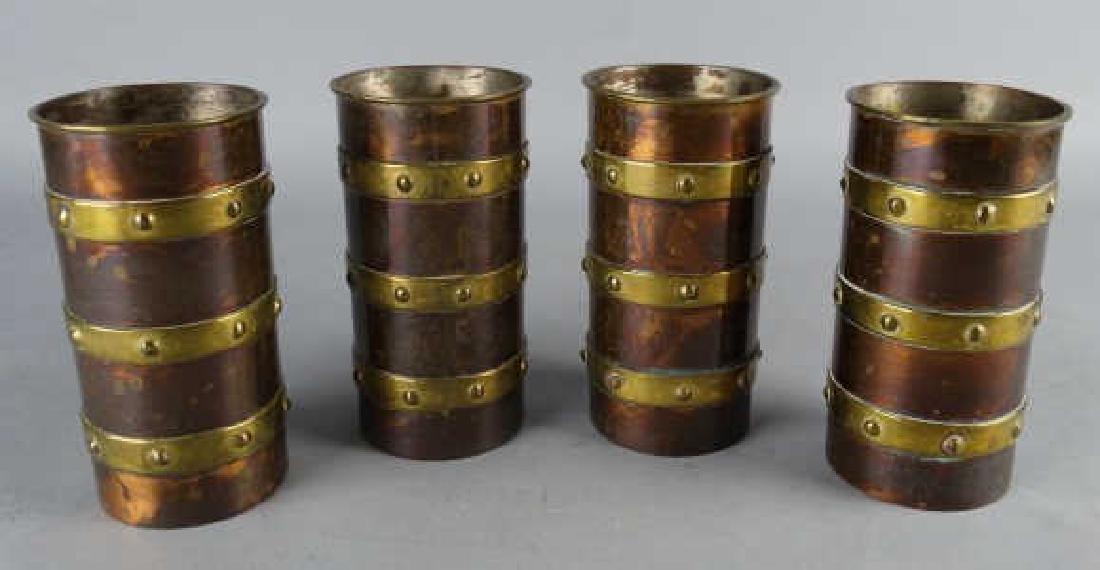 4 Copper & Brass Tankards by Saltillo Silver Co.
