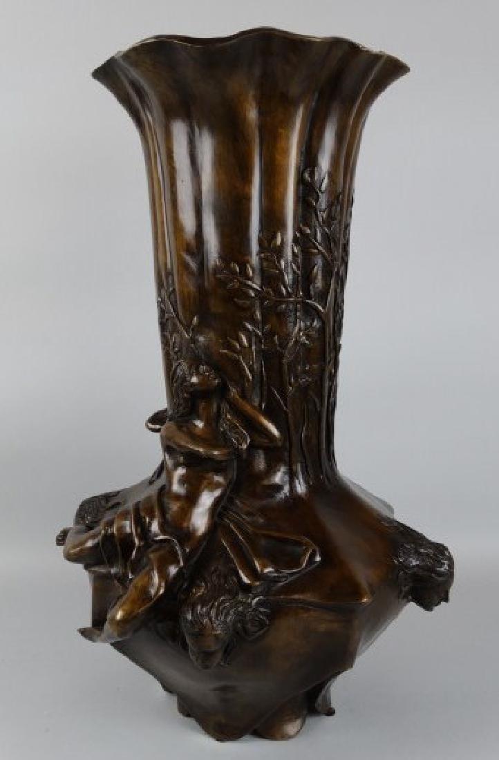 Large Art Noveau Bronze Vase