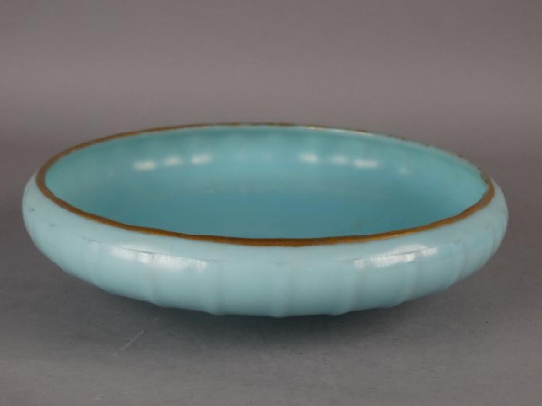 French Blue Opaline Bowl w/ Gold Gilt Rim