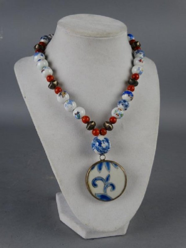 Sterling Silver Chinese Porcelain Beads Necklace