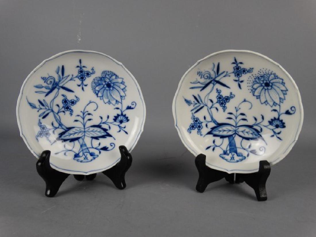 Lot of 2 Meissen 'Blue Onion' Porcelain Saucers