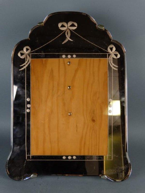 Art Nouveau Etched Mirror Picture Frame