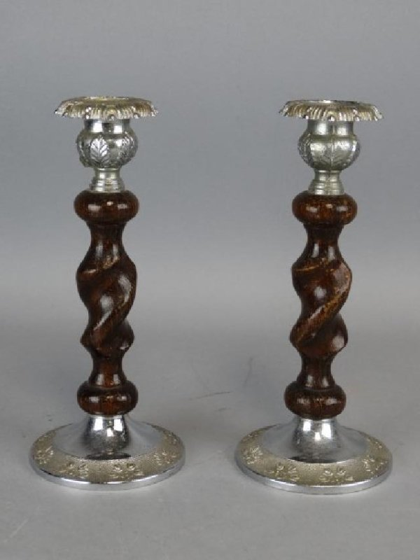 Pair of Barley Twist Candlesticks