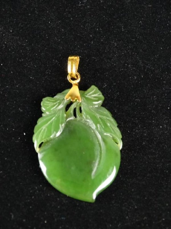 Carved Spinach Jade Peach set in Gold - 2