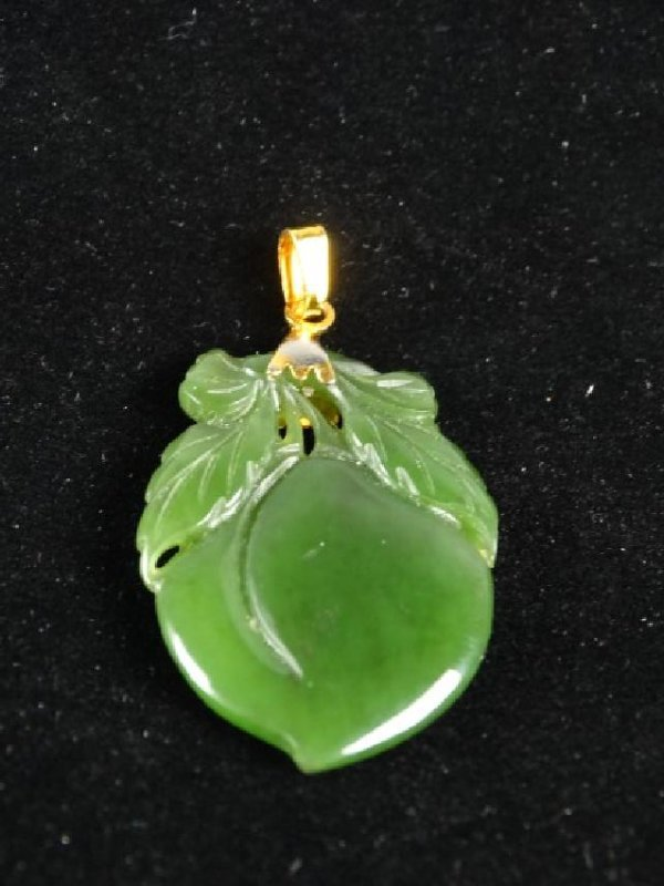 Carved Spinach Jade Peach set in Gold - 3