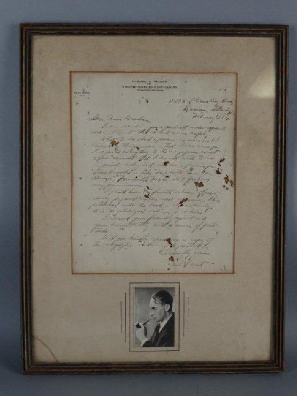 LEW SARETT - Signed Letter