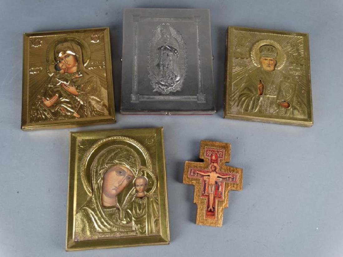 Group of 5 Religious Icons & Devotional Plaques