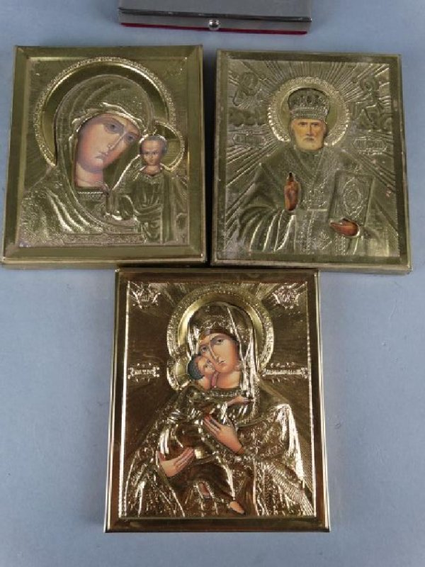 Group of 5 Religious Icons & Devotional Plaques - 3