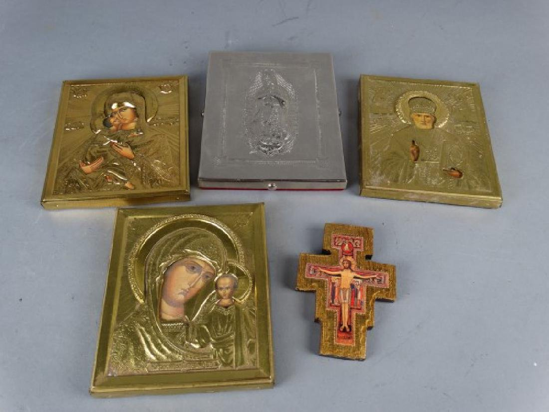 Group of 5 Religious Icons & Devotional Plaques - 4