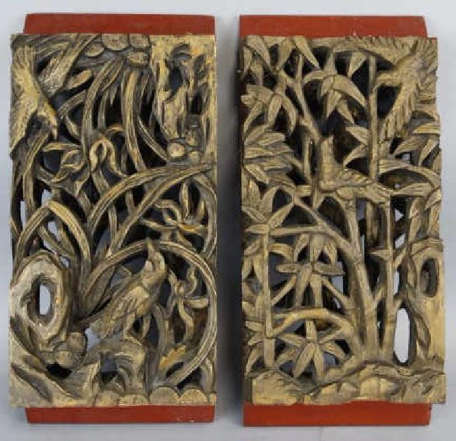 Lot of 2 Chinese Carved Panels