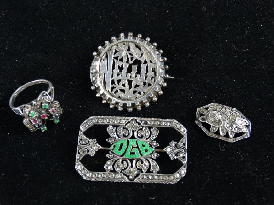 Lot of 4 Antique Sterling Silver Jewelry Items