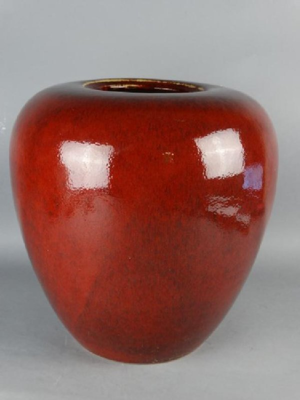 Large Red Glazed Chinese Jar